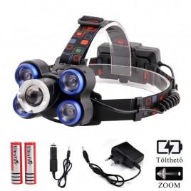 Ledes Cserélhető Akkus Fejlámpa Zoom Extra Erős 5xT6 LED  Csepp és Porálló
