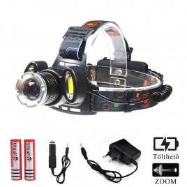 Ledes Cserélhető Akkus Fejlámpa Zoom Extra Erős T6 és COB LED  Csepp és Porálló