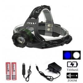 Ledes Cserélhető Akkus Zöld Fejlámpa Zoom Extra Erős T6 LED Fehér és Kék Fénnyel Csepp és Porálló