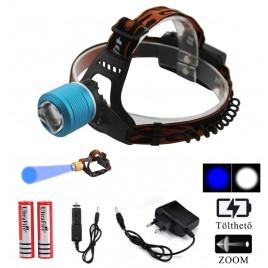 Ledes Cserélhető Akkus Fejlámpa Zoom Extra Erős T6 LED Fehér és UV Kék Fénnyel Csepp és Porálló