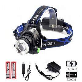 Ledes Cserélhető Akkus Fejlámpa Zoom Extra Erős T6 LED  Csepp és Porálló