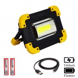 Ledes Hordozható Reflektor Vészvilágítással 20W Cserélhető Akkus és Elemes Powerbank Funkcióval Csepp és Porálló